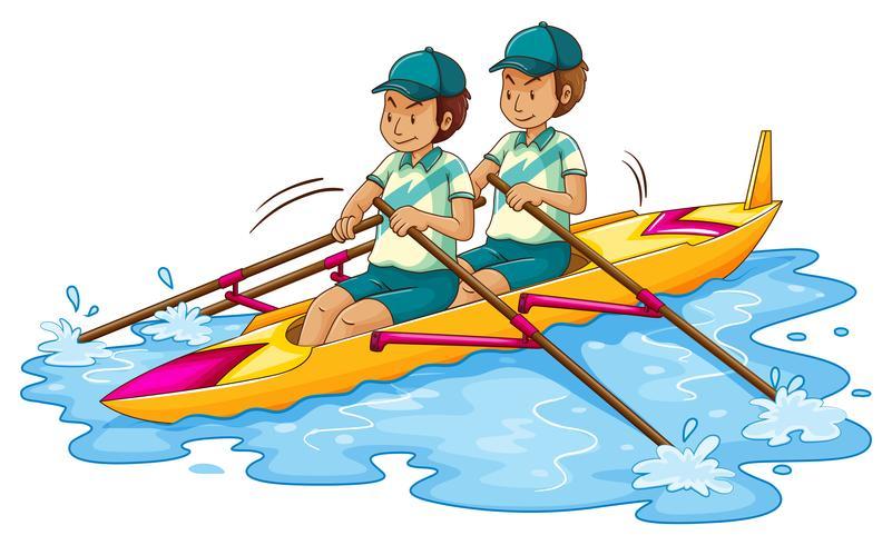 Two men rowing kayak vector