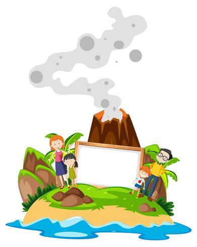 Familjhållande ram på ön