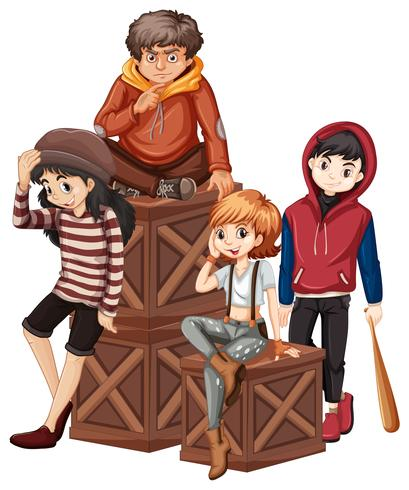 Grupp av problem tonåring