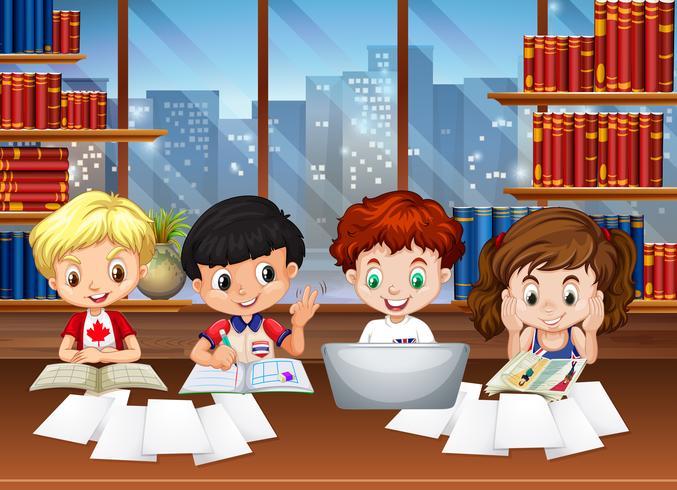 Barn som arbetar i biblioteket