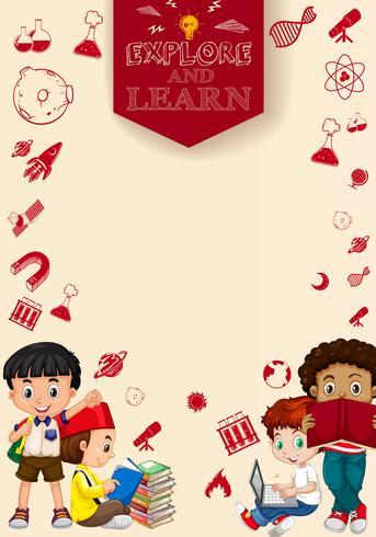 Barn som läser böcker och använder dator