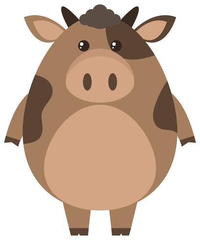Vaca marrón sobre fondo blanco