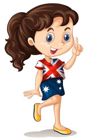 Australian girl pointing finger