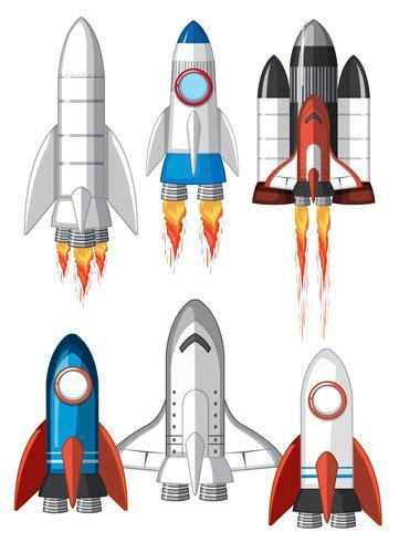 Conjunto de nave espacial no fundo branco