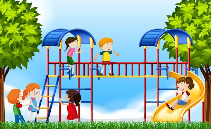 Crianças, tocando, em, a, pátio recreio, em, diurno vetor