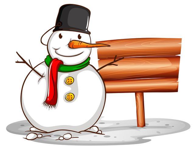 Plantilla de cartel de madera con muñeco de nieve