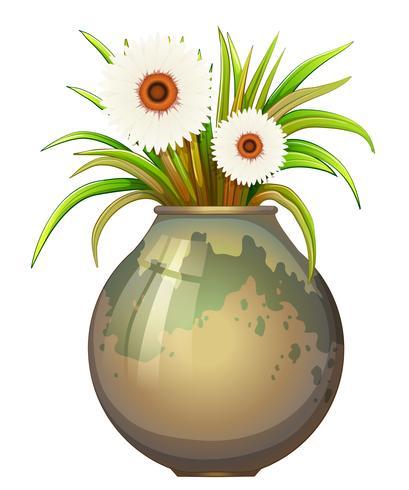 Una planta con flores en una maceta grande.