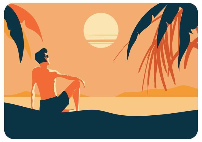 Un uomo che gode del vettore di tramonto di estate