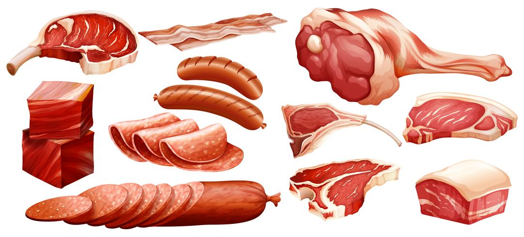 Set of different meats