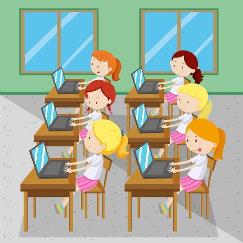 Sechs Mädchen tippen am Computer vektor