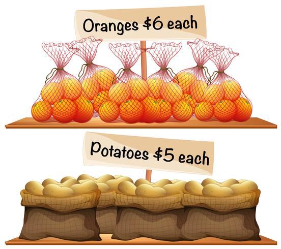 Sacchetti di patate e arance