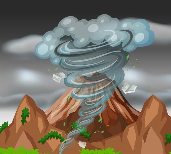 Tornado sobre las montañas