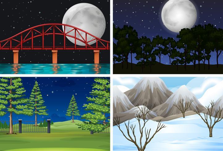 Sats av olika utomhus scener