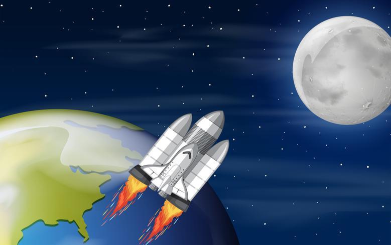 Ein Raumschiff im Weltall vektor