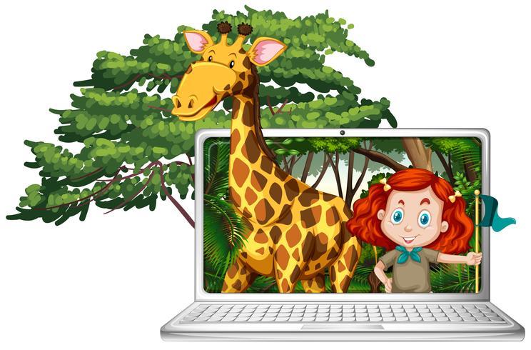 Chica y jirafa en pantalla de ordenador