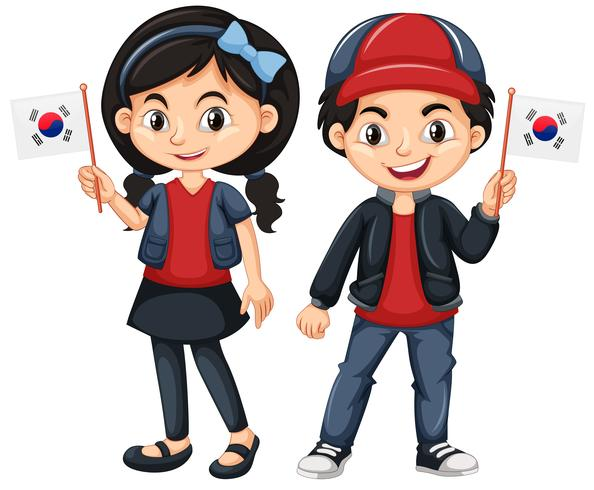 Enfants tenant le drapeau de la Corée du Sud