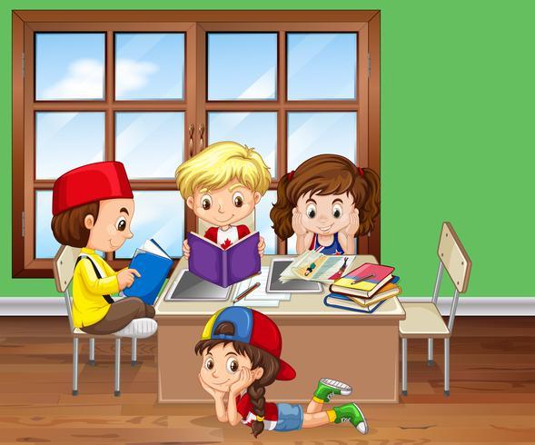 Crianças, leitura, livros, em, sala aula