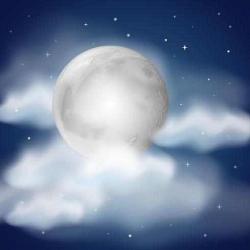 Lua à noite com nuvens