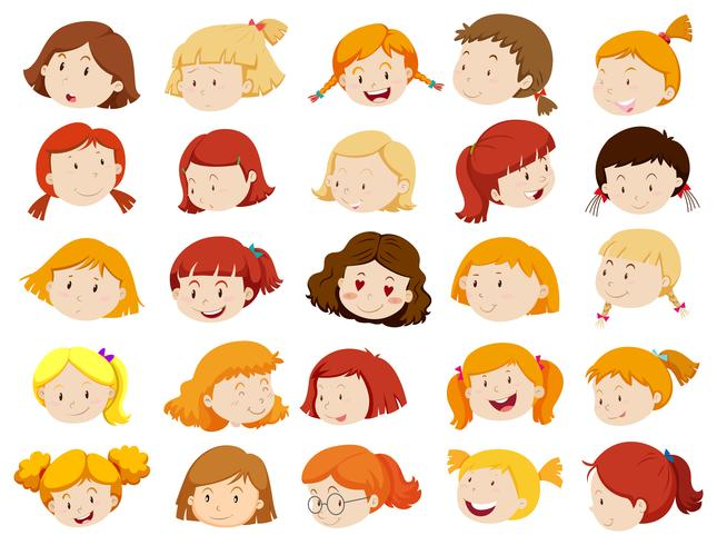 Faces of girls in different emotions vector