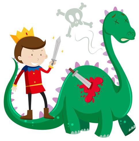 Príncipe matando dragón verde
