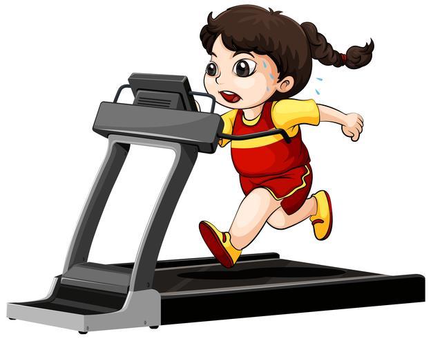 Menina, executando, ligado, treadmill