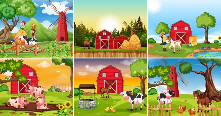 Conjunto de escena de tierras de cultivo