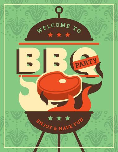 Retro BBQ poster vector