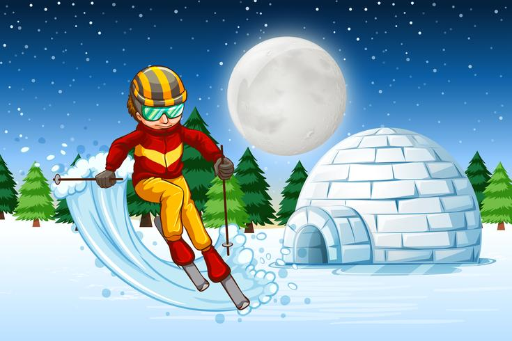 Un hombre esquia en la noche vector