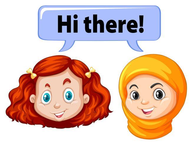 Two girls saying hello
