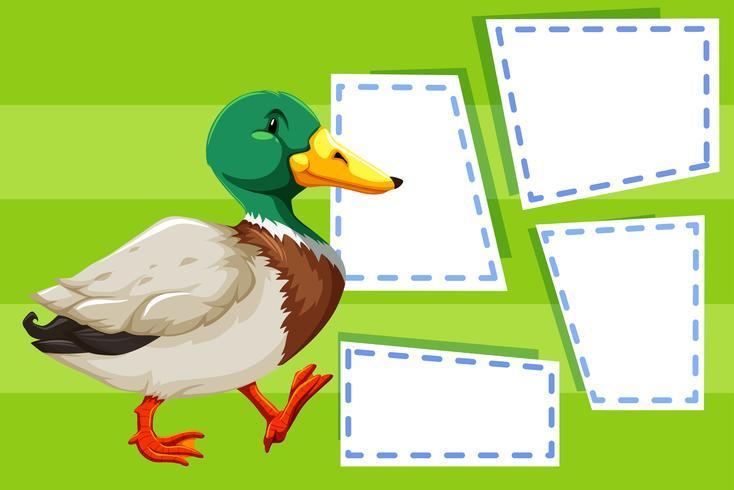 Eine Ente auf leere Notiz