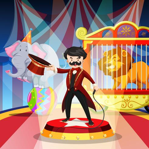 Ring master and animal show