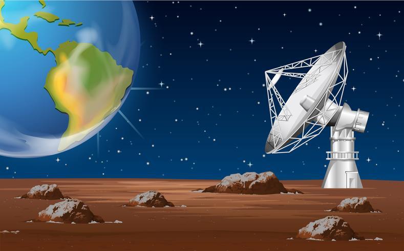 Tecnología espacial con antena parabólica y tierra.