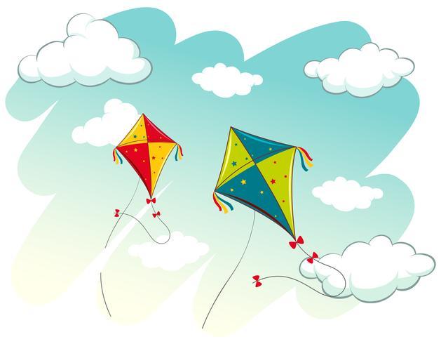 Scène met twee vliegers in de lucht vector
