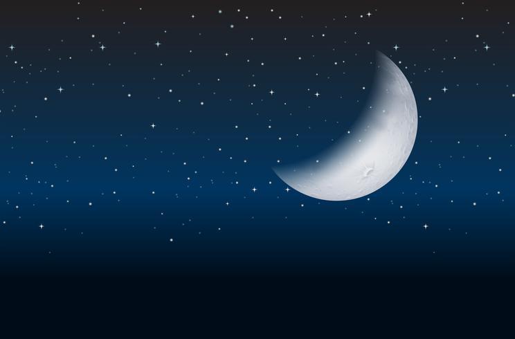 Halvmåne på himmel