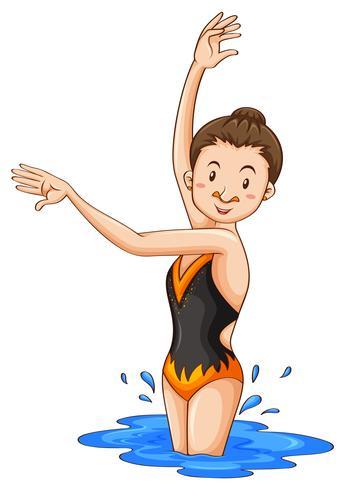 Donna che fa nuoto sincronizzato