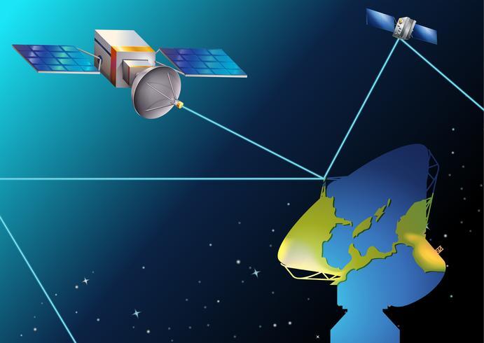 Satellieten in de buurt van de aarde vector
