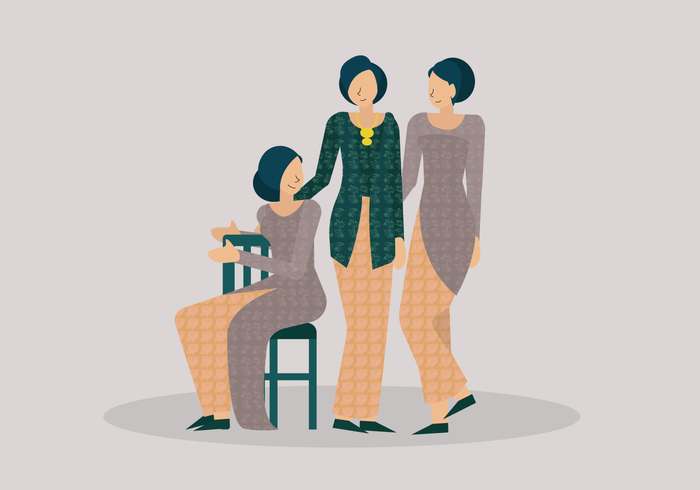 Jonge vrouw Kartini dragen traditionele Kebaya vectorillustratie