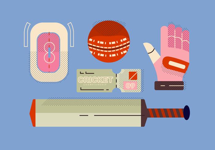 Equipamento de bola de críquete Vector plana ilustração
