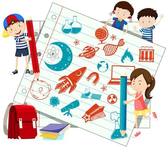 Kinder- und Wissenschaftssymbole auf Papier vektor