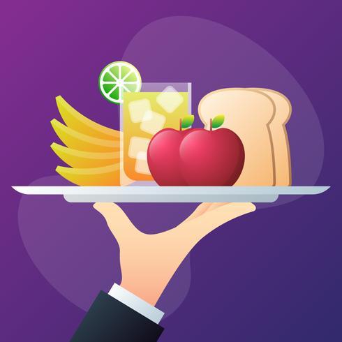 Man houdt een dienblad van vers voedsel, fruit en sap illustratie vector