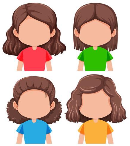 Set di diverse ragazze senza volto vettore