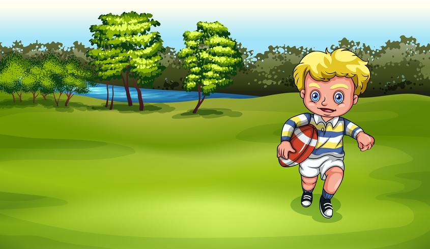 Um, menino jovem, jogando rugby