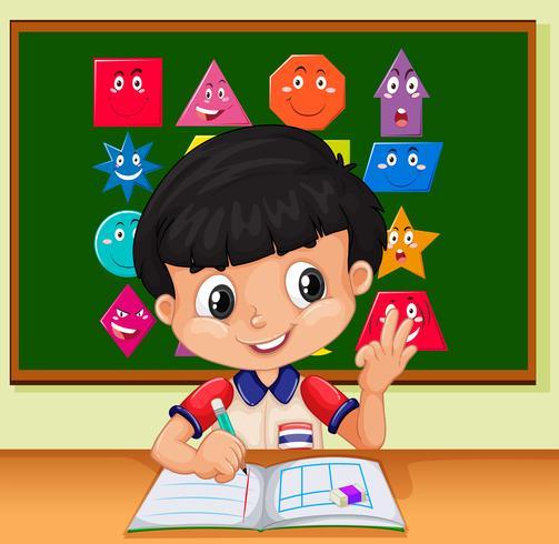 Weinig jongen die in het notitieboekje schrijft vector