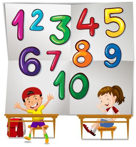 Kinderen en cijfers één tot tien