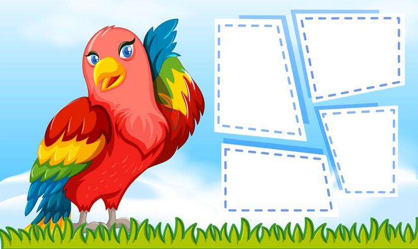 Ein Papagei auf leere Notiz vektor