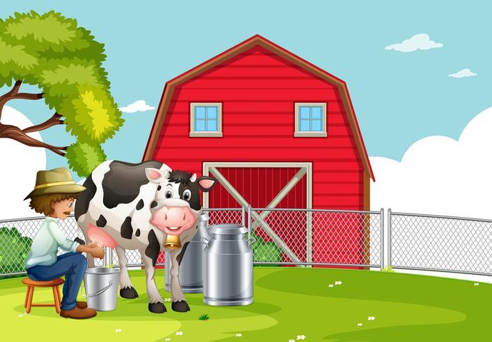 Een landbouwer die koe melkt