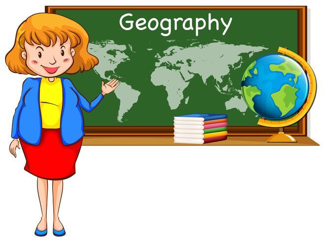 Profesor de geografía y mapa del mundo en la pizarra.