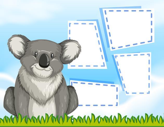 Een koala op lege sjabloon vector