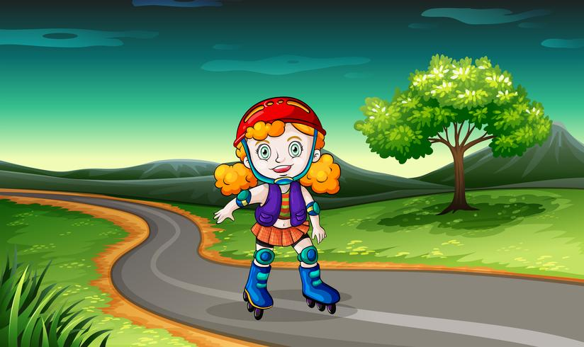 Une fille fait du roller dans la rue