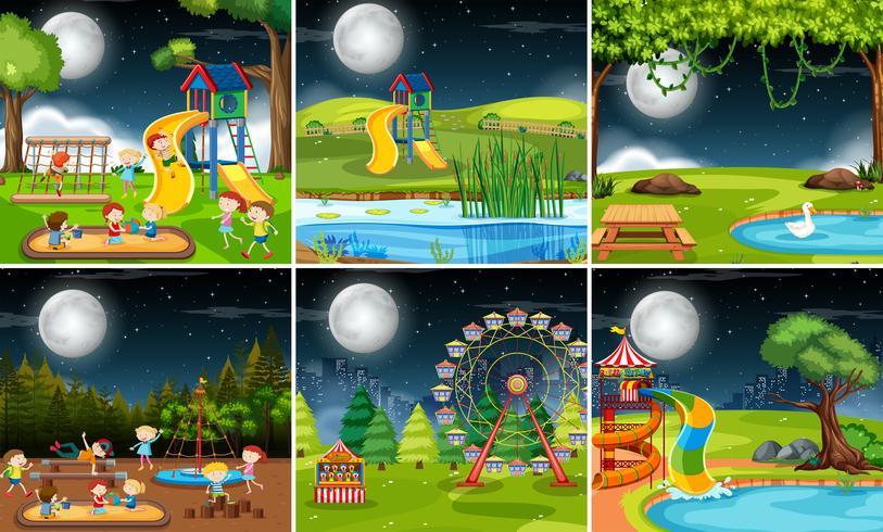 Set van speeltuin scène in de nacht vector